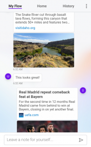Opera Touch's Flow feature