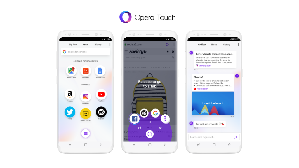 Opera Touch's prominent features