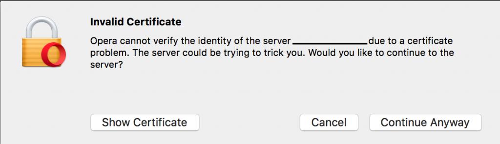 Invalid certificate pop-up in Opera