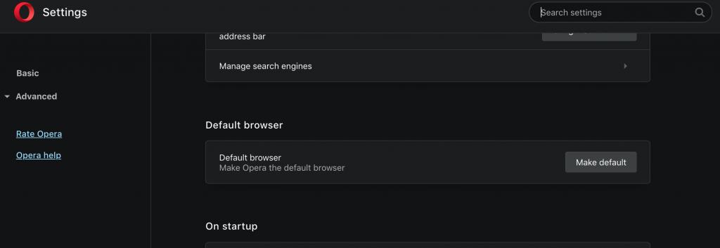 Make Opera your default web browser